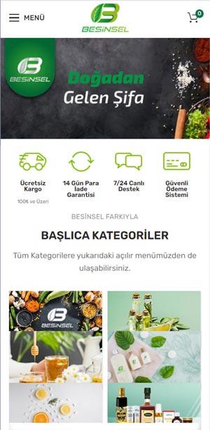 Mobil Web Sitesi - Responsive Site Tasarımı - Besinsel